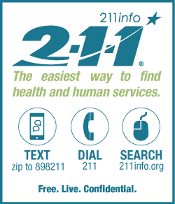 211info logo with info on how to contact them via text, dialing, and web link