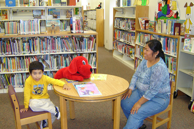 A mother and her son enjoy reading in the library.